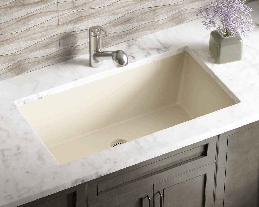 848-Beige Lifestyle Image: 80% Quartz 20% Acrylic Rectangle Undermount Beige Kitchen Sink