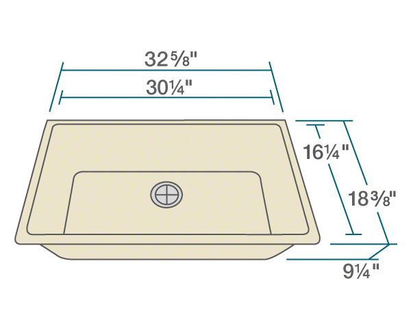 "The dimensions of 848-Beige Single Bowl Undermount Quartz Granite Sink is 32 5/8"" x 18 3/8"" x 9 1/4"". Its minimum cabinet size is 33""."