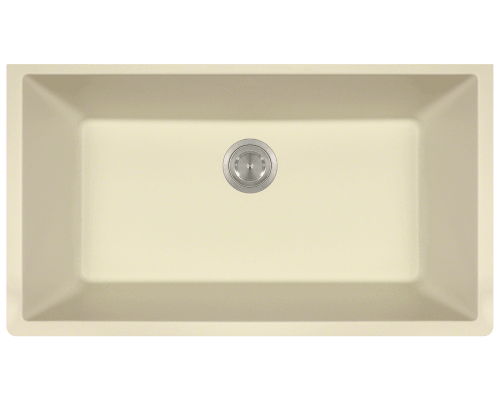 MR Direct 848-Beige 848-Beige Single Bowl Undermount Quartz Granite Sink