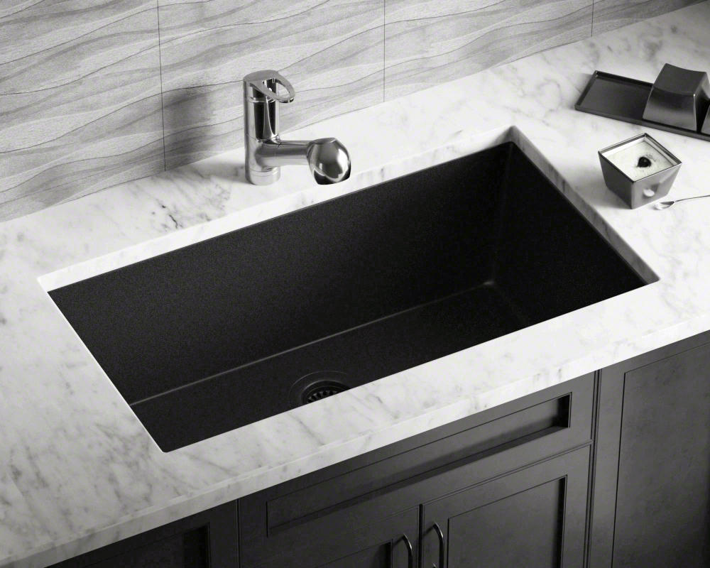 848-Black Large Single Bowl Undermount TruGranite Kitchen Sink