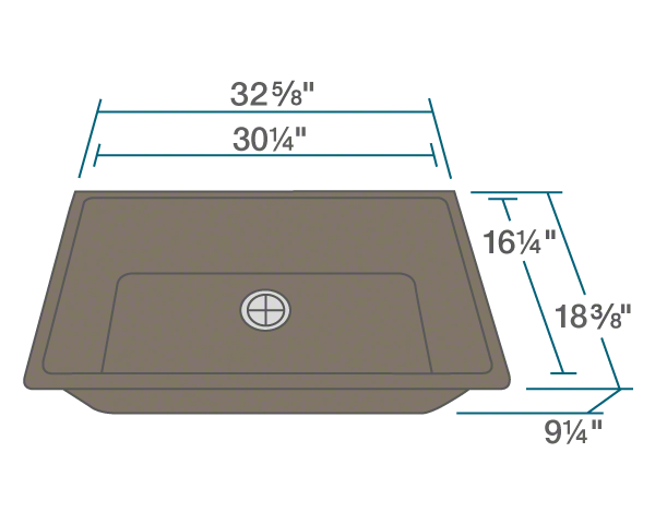 "The dimensions of 848-Mocha Single Bowl Undermount TruGranite Sink is 32 5/8"" x 18 3/8"" x 9 1/4"". Its minimum cabinet size is 33""."
