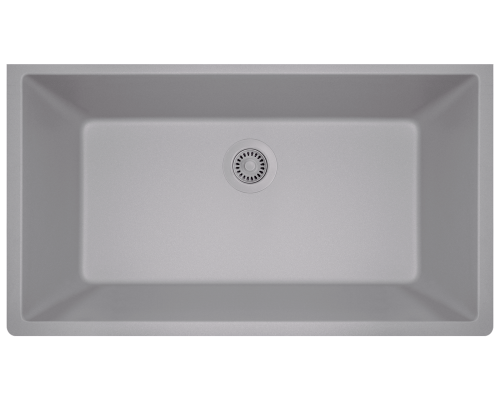 848 Silver Single Bowl Undermount Quartz Granite Sink