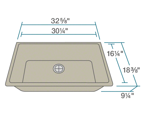 "The dimensions of 848-Slate Single Bowl Undermount Quartz Granite Sink is 32 5/8"" x 18 3/8"" x 9 1/4"". Its minimum cabinet size is 33""."