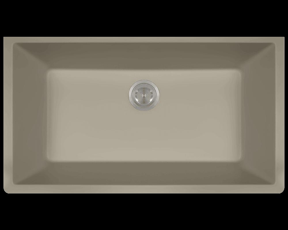 848-Slate Single Bowl Undermount TruGranite Sink