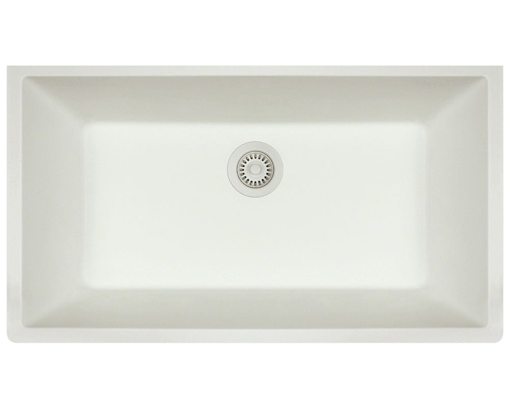 848-White Large Single Bowl Undermount TruGranite Kitchen Sink