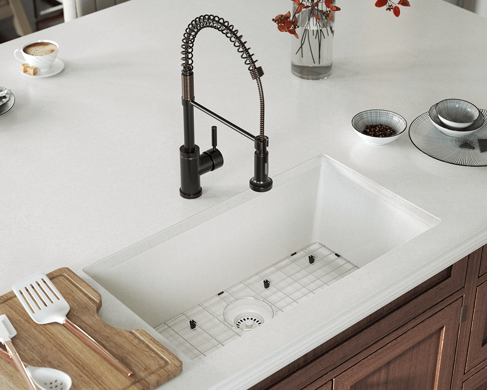 848 white single bowl undermount trugranite sink - White Single Basin Kitchen Sink