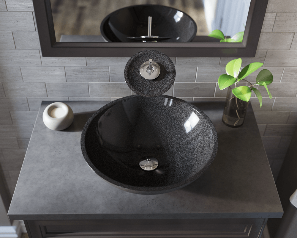 850-Black Lifestyle Image: Natural Granite Round Black Vessel Bathroom Sink