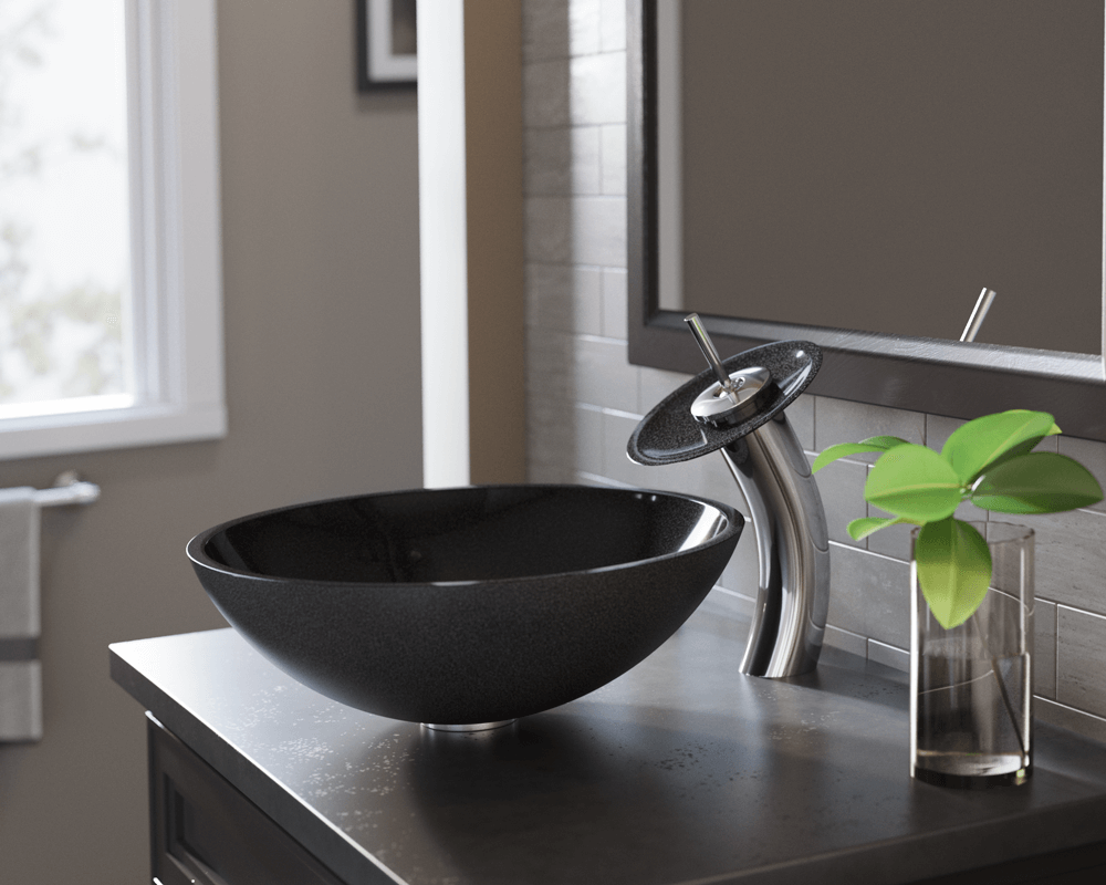 850-Black Lifestyle Image: Natural Granite Round Vessel Black Bathroom Sink