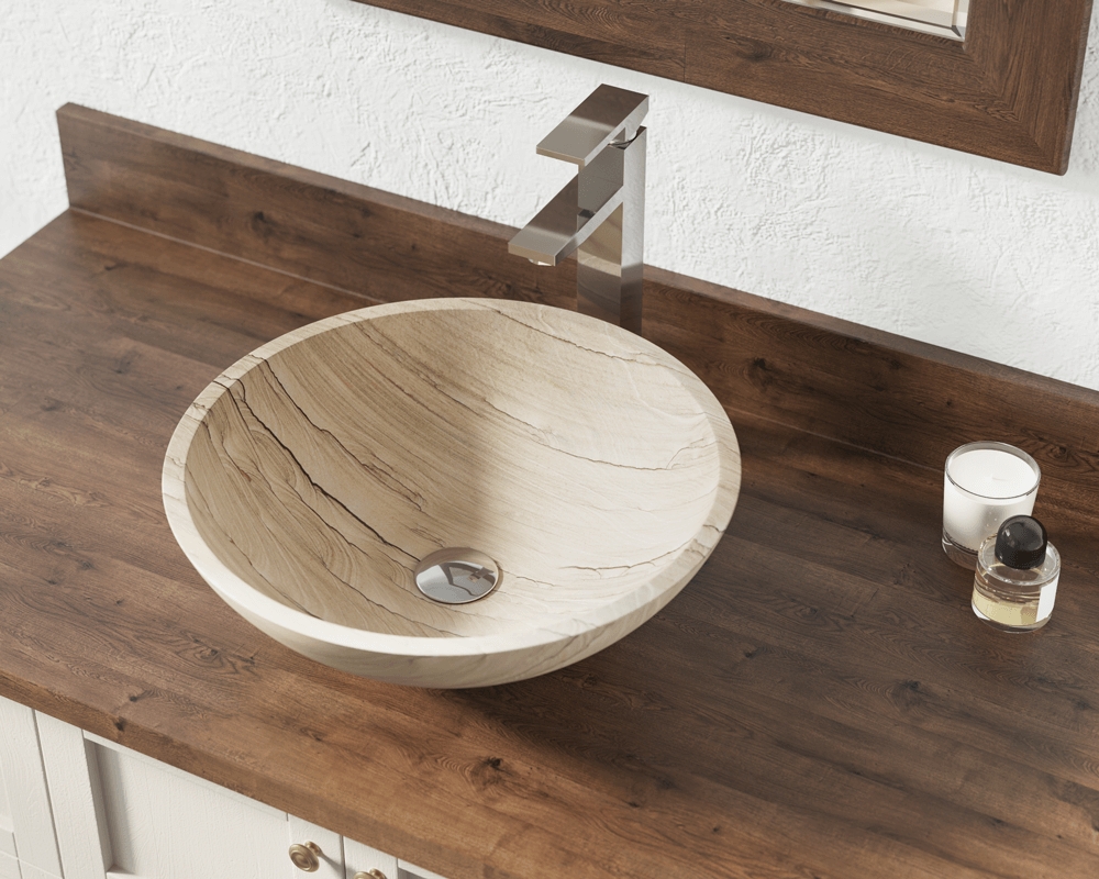 852 Lifestyle Image: Natural Stone Round Tan Vessel Bathroom Sink