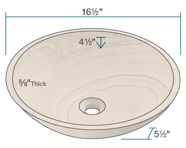 "The dimensions of 852 Wood Sandstone Vessel Sink is 16 1/2"" x 16 1/2"" x 5 1/2"". Its minimum cabinet size is 18""."