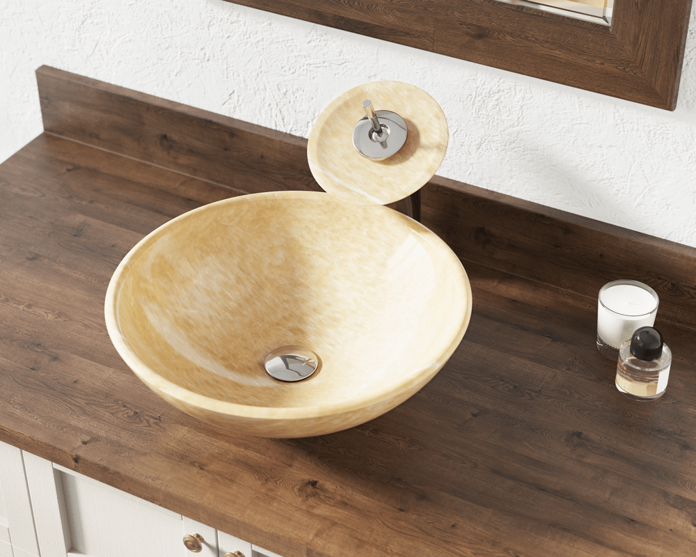853 Lifestyle Image: Natural Onyx Round Yellow Vessel Bathroom Sink