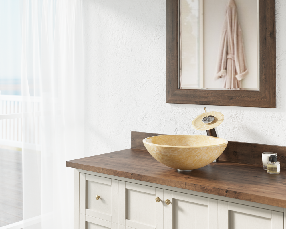 853 Lifestyle Image: Natural Onyx Round Vessel Yellow Bathroom Sink
