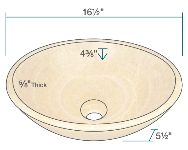 "The dimensions of 853 Honey Onyx Vessel Sink is 16 1/2"" x 16 1/2"" x 5 1/2"". Its minimum cabinet size is 18""."