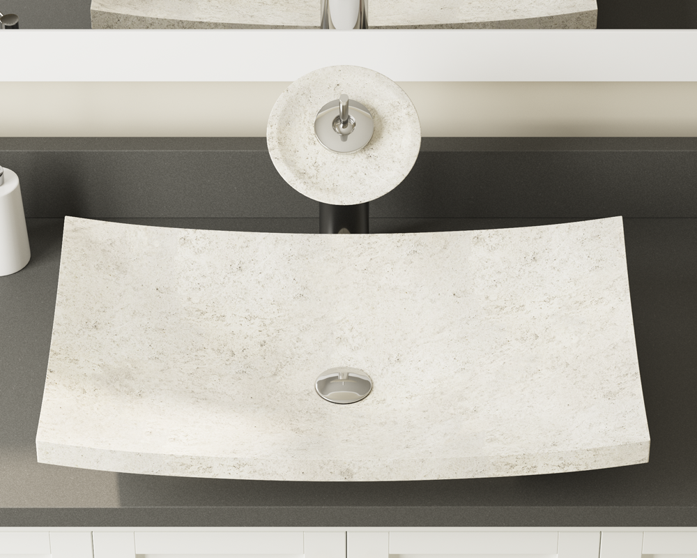 858 Lifestyle Image: Natural Marble Rectangle White Vessel Bathroom Sink