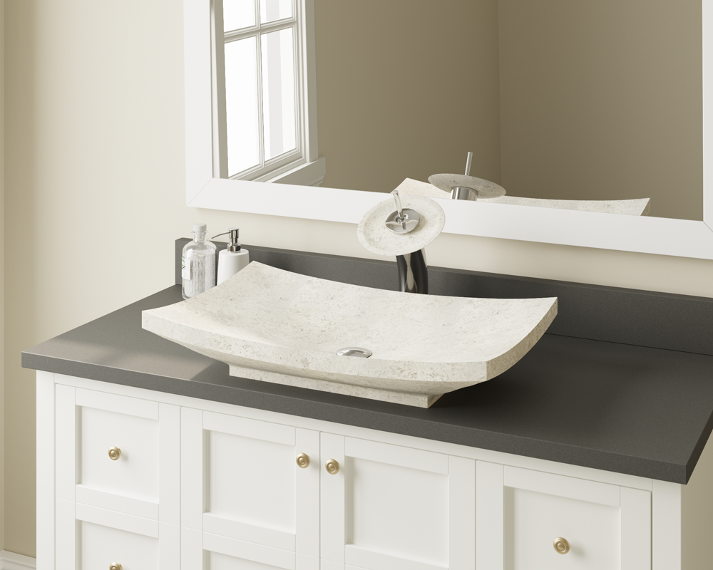 858 Lifestyle Image: Natural Marble Rectangle Vessel White Bathroom Sink