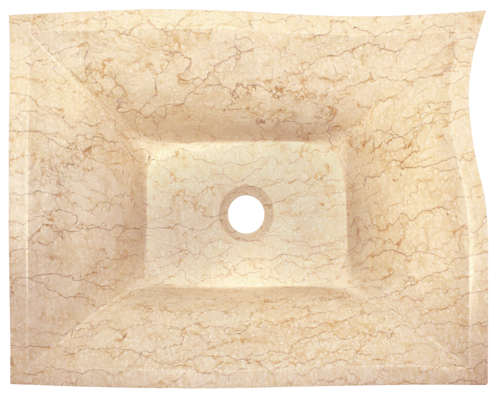 859 Alt Image: Natural Marble Square Vessel Yellow Bathroom Sink