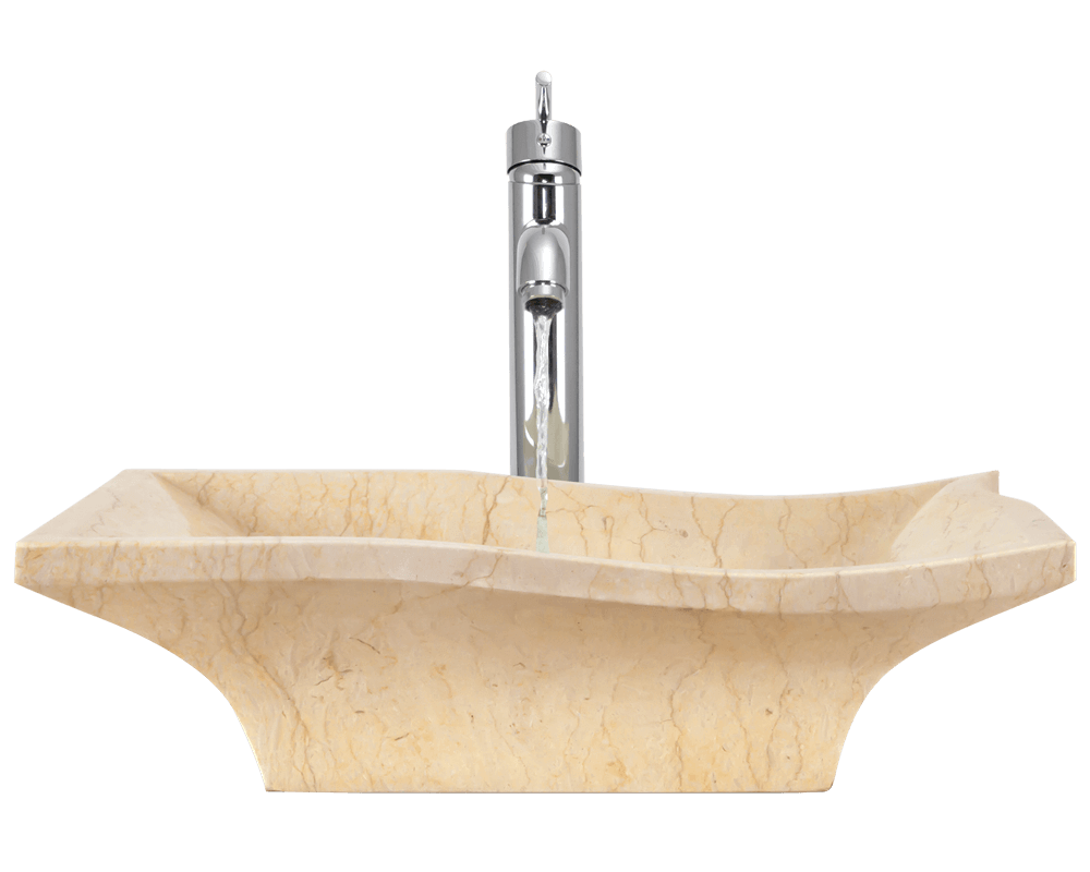 859 Alt Image: Natural Marble Square Yellow Vessel Bathroom Sink