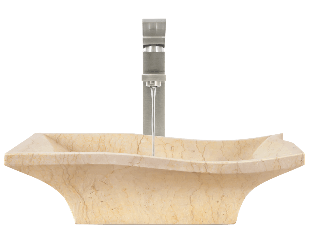 859 Alt Image: Natural Marble Vessel Square Yellow Bathroom Sink
