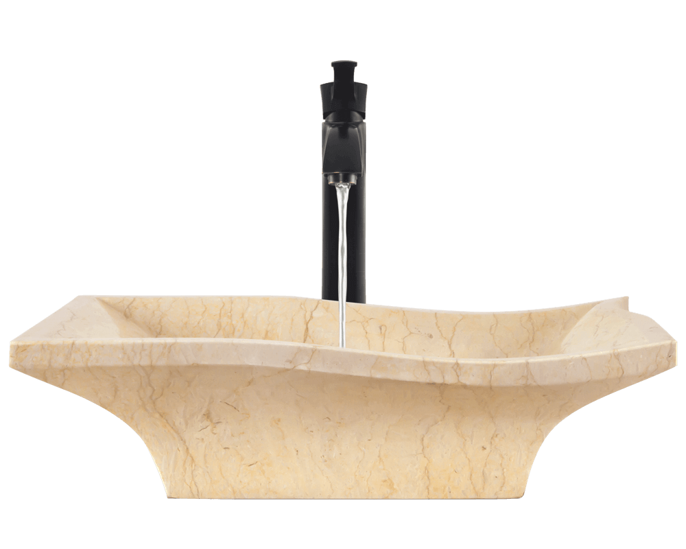 859 Alt Image: Natural Marble Vessel Yellow Square Bathroom Sink