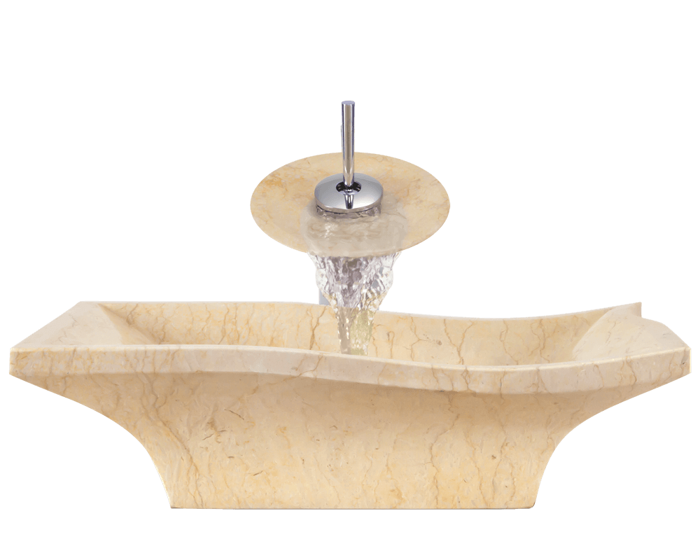 859 Alt Image: Natural Marble Yellow Vessel Square Bathroom Sink