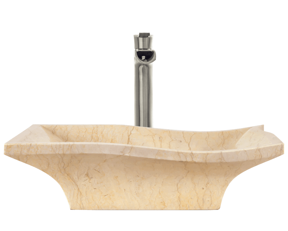 859 Alt Image: Natural Marble Yellow Square Vessel Bathroom Sink