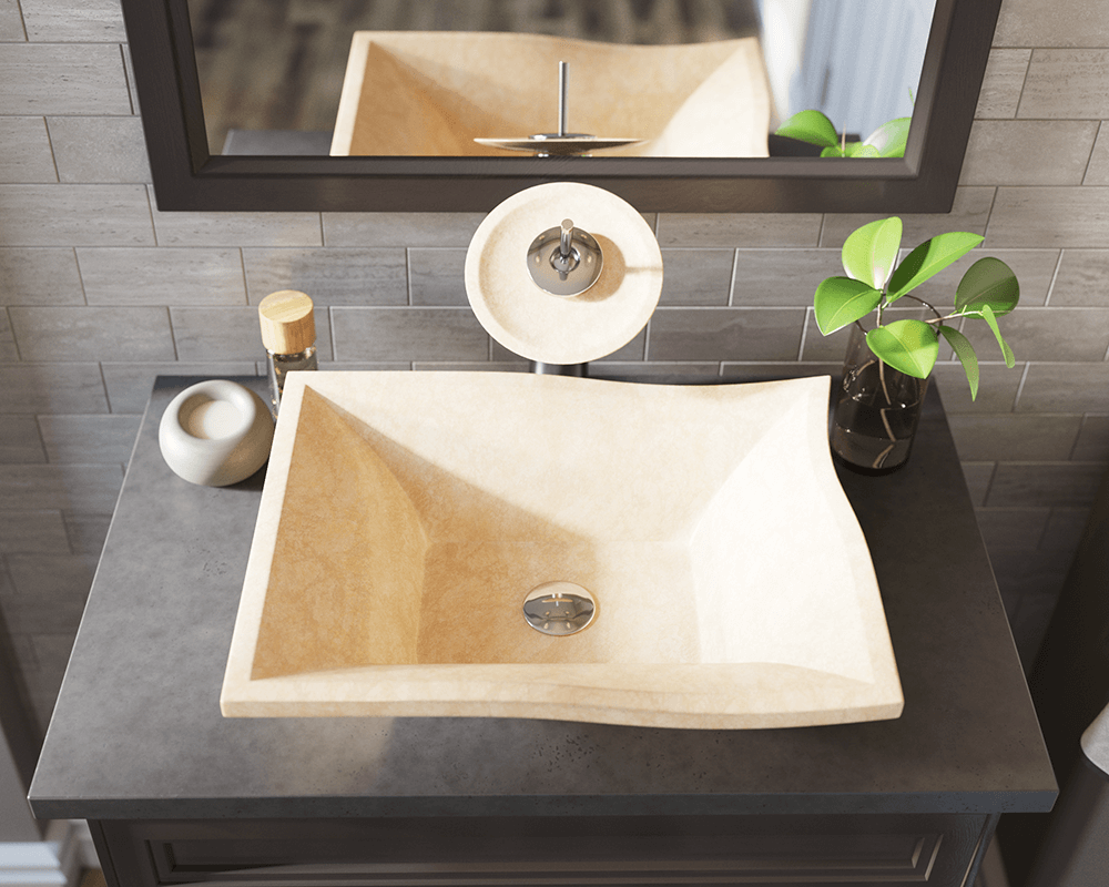 859 Lifestyle Image: Natural Marble Square Yellow Vessel Bathroom Sink