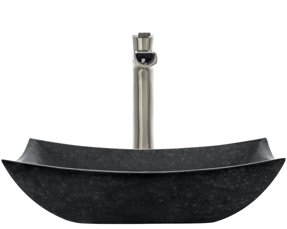 860 Alt Image: Natural Granite Black Vessel Square Bathroom Sink
