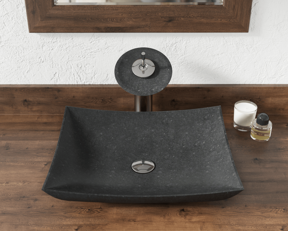 860 Lifestyle Image: Natural Granite Square Black Vessel Bathroom Sink