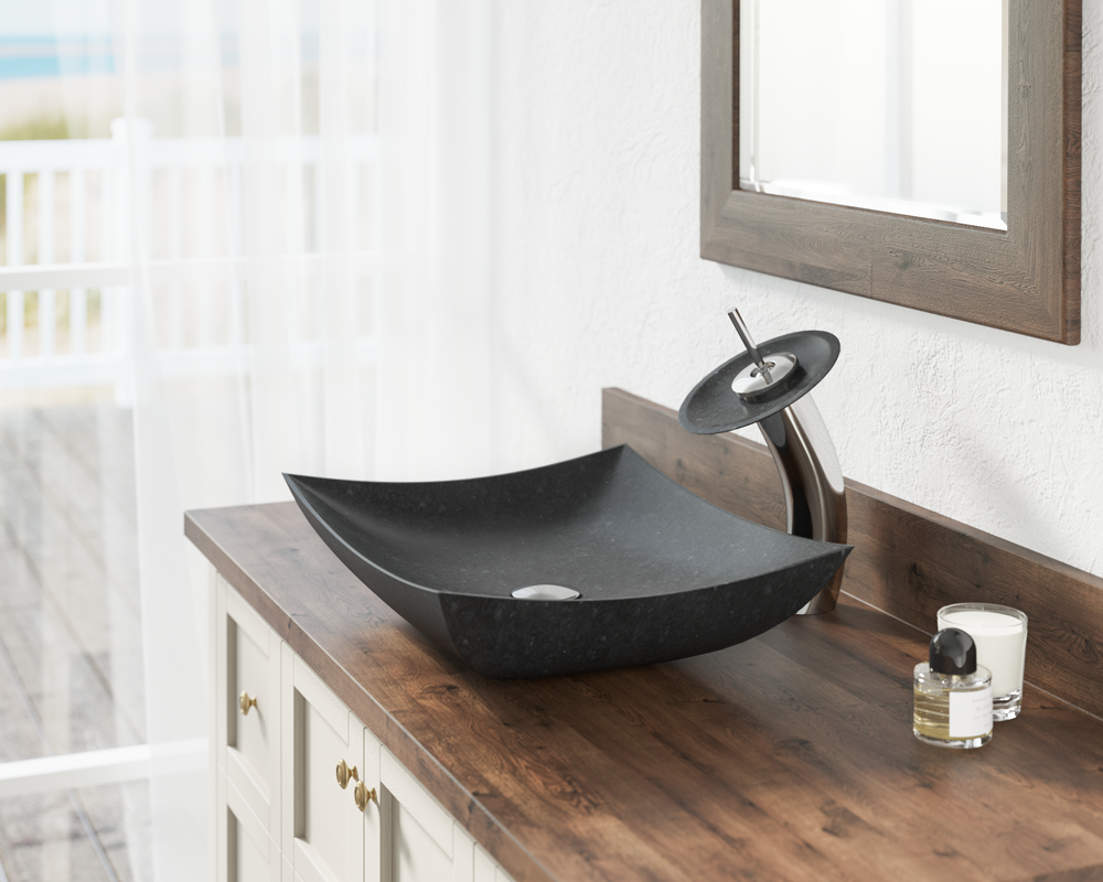 860 Lifestyle Image: Natural Granite Square Vessel Black Bathroom Sink