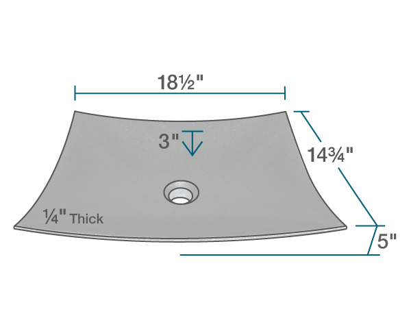 "The dimensions of 860 Honed Basalt Vessel Sink is 18 1/2"" x 14 3/4"" x 5"". Its minimum cabinet size is 24""."
