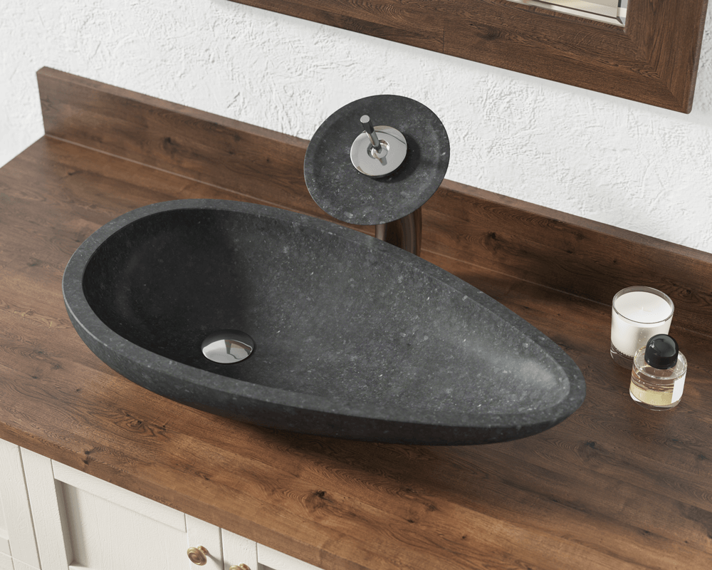 863 Lifestyle Image: Natural Granite Oval Black Vessel Bathroom Sink