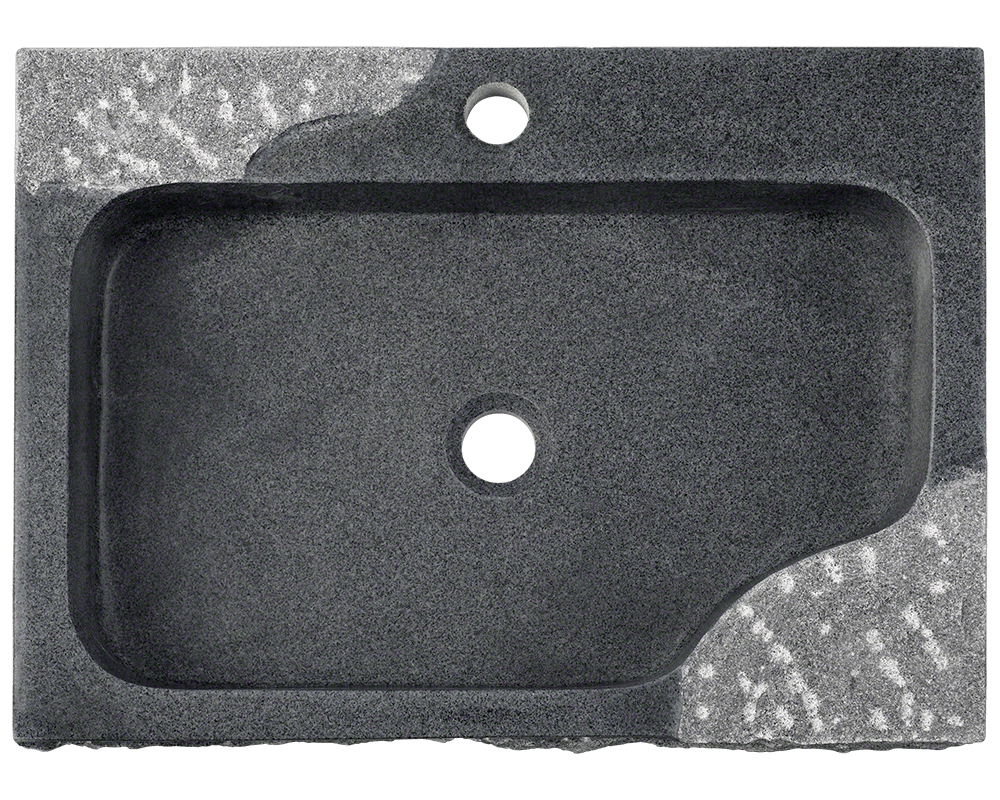 865 Alt Image: Natural Granite Rectangle Vessel Black Bathroom Sink
