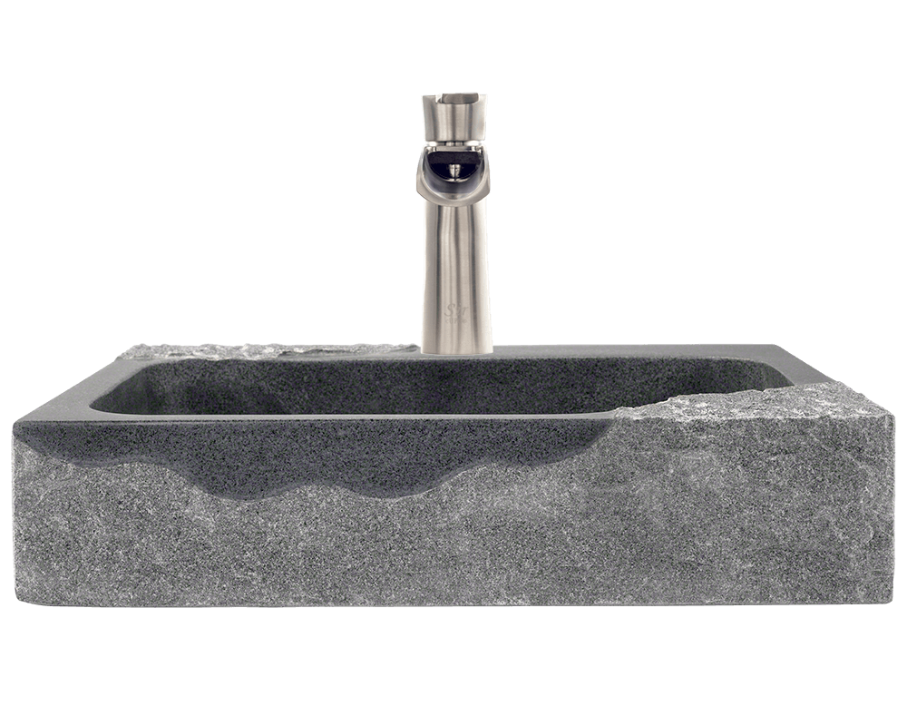 865 Alt Image: Natural Granite Black Rectangle Vessel Bathroom Sink