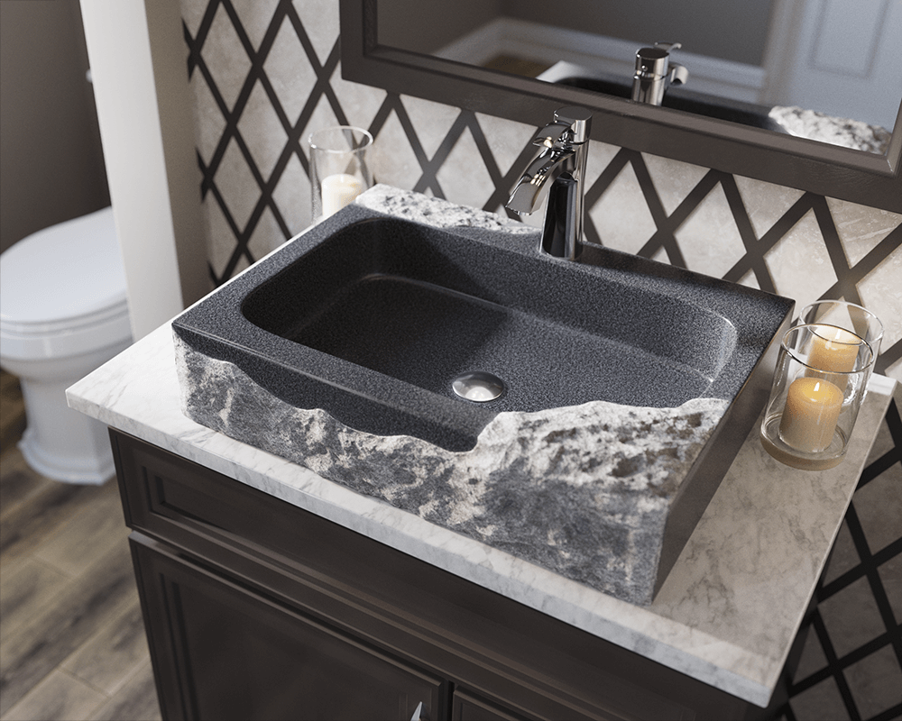 865 Lifestyle Image: Natural Granite Rectangle Black Vessel Bathroom Sink