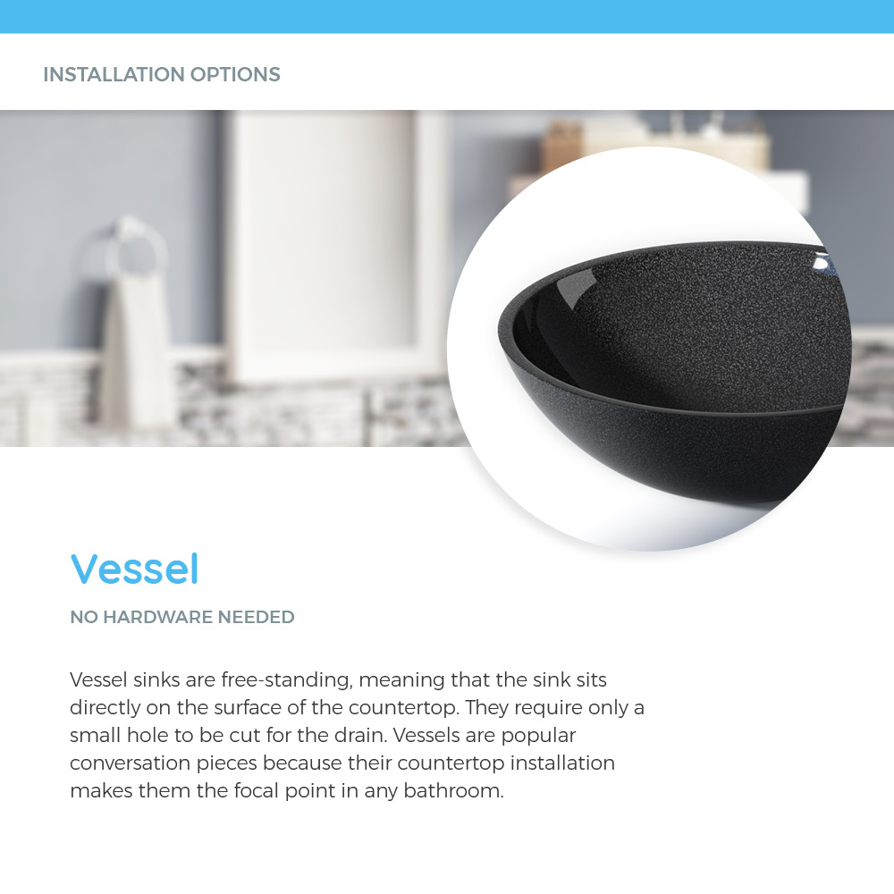 Stone vessel sink on white countertop