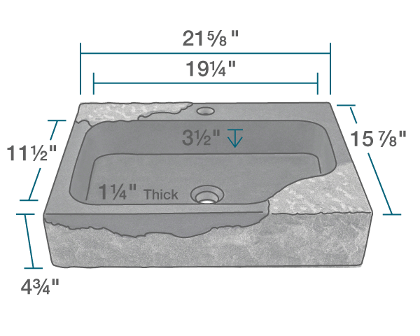 "The dimensions of 865 Natural Gray Granite Vessel Sink is 21 5/8"" x 15 7/8"" x 4 3/4"". Its minimum cabinet size is 24""."