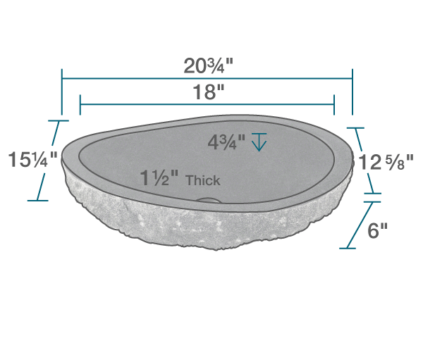 "The dimensions of 866 Natural Gray Granite Vessel Sink is 20 3/4"" x 15 1/4"" x 6"". Its minimum cabinet size is 21""."
