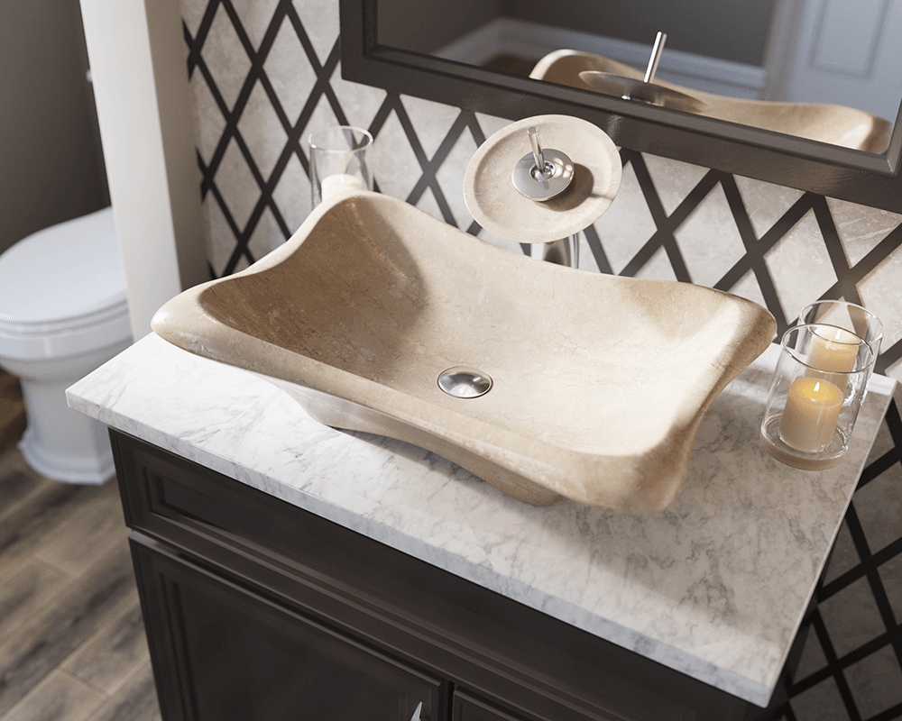 867 Lifestyle Image: Natural Marble Rectangle Tan Vessel Bathroom Sink