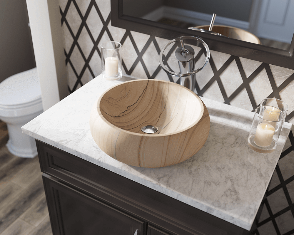869 Lifestyle Image: Natural Stone Rectangle Tan Vessel Bathroom Sink