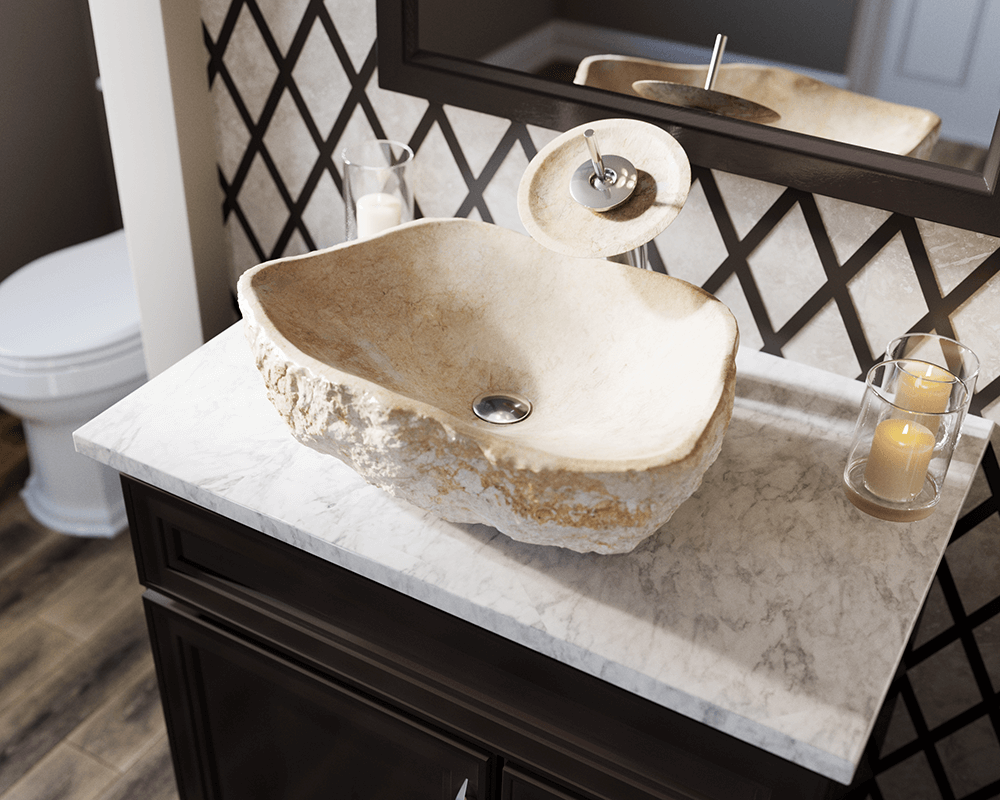870 Lifestyle Image: Natural Marble Rectangle Beige Vessel Bathroom Sink