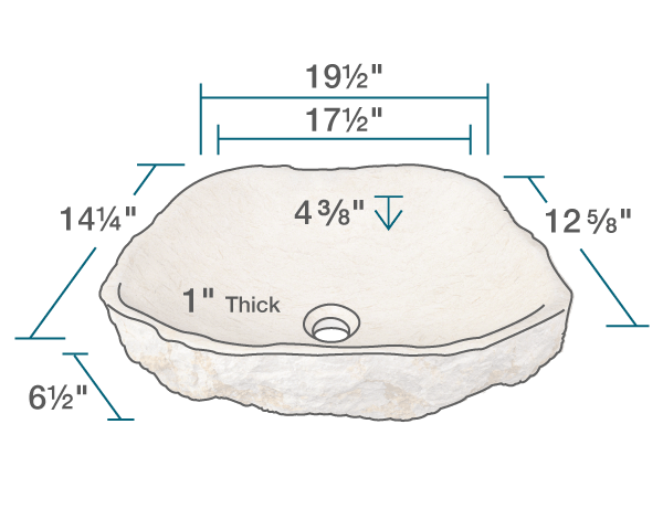 "The dimensions of 870 Galaga Beige Marble Vessel Sink is 19 1/2"" x 14 1/4"" x 6 1/2"". Its minimum cabinet size is 21""."