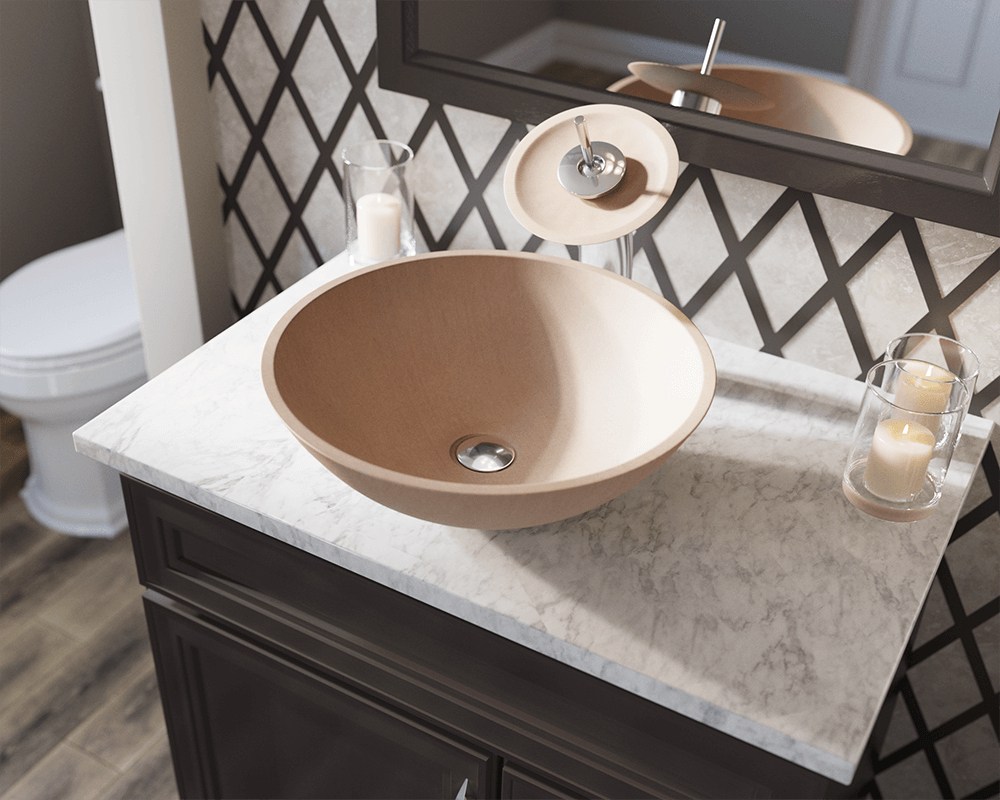 871 Lifestyle Image: Natural Stone Round Tan Vessel Bathroom Sink
