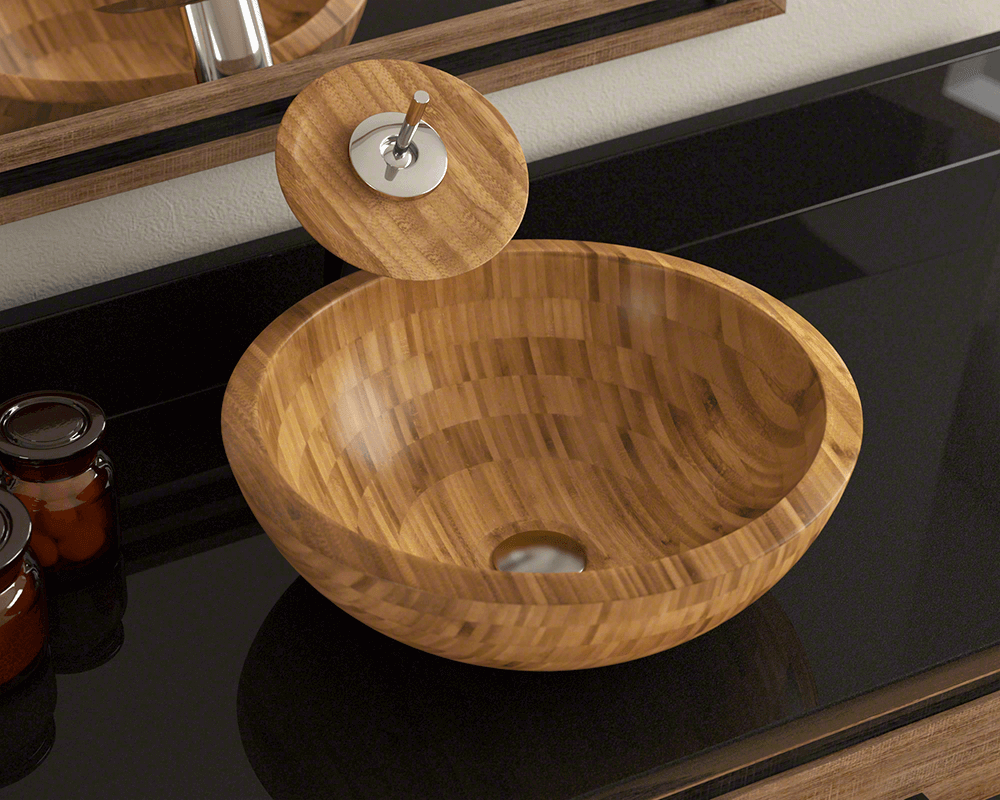 890 Lifestyle Image: 100% Renewable Bamboo One Bowl Round Vessel Bathroom Sink