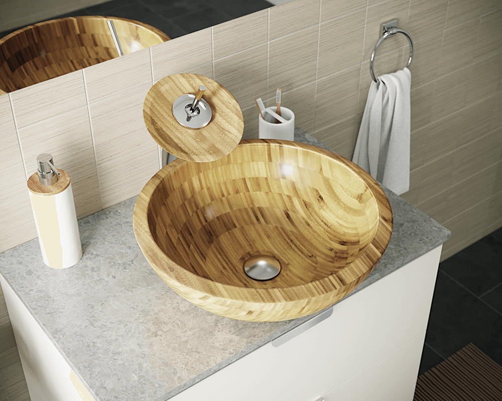 890 Lifestyle Image: 100% Renewable Bamboo Round One Bowl Vessel Bathroom Sink