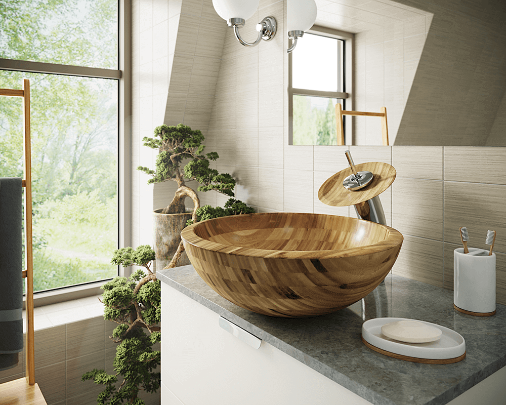 890 Lifestyle Image: 100% Renewable Bamboo Vessel One Bowl Round Bathroom Sink