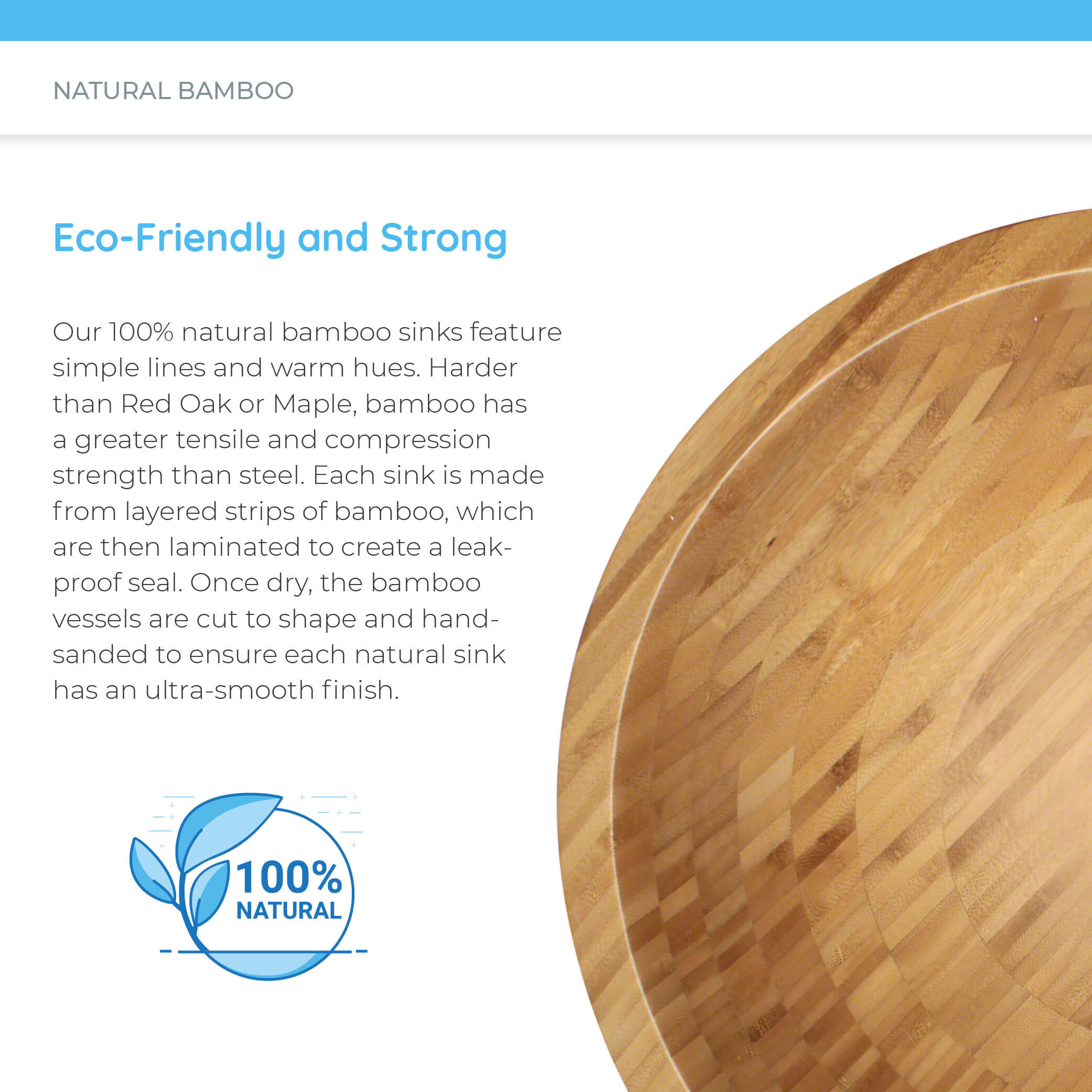Eco-friendly natural bamboo sink