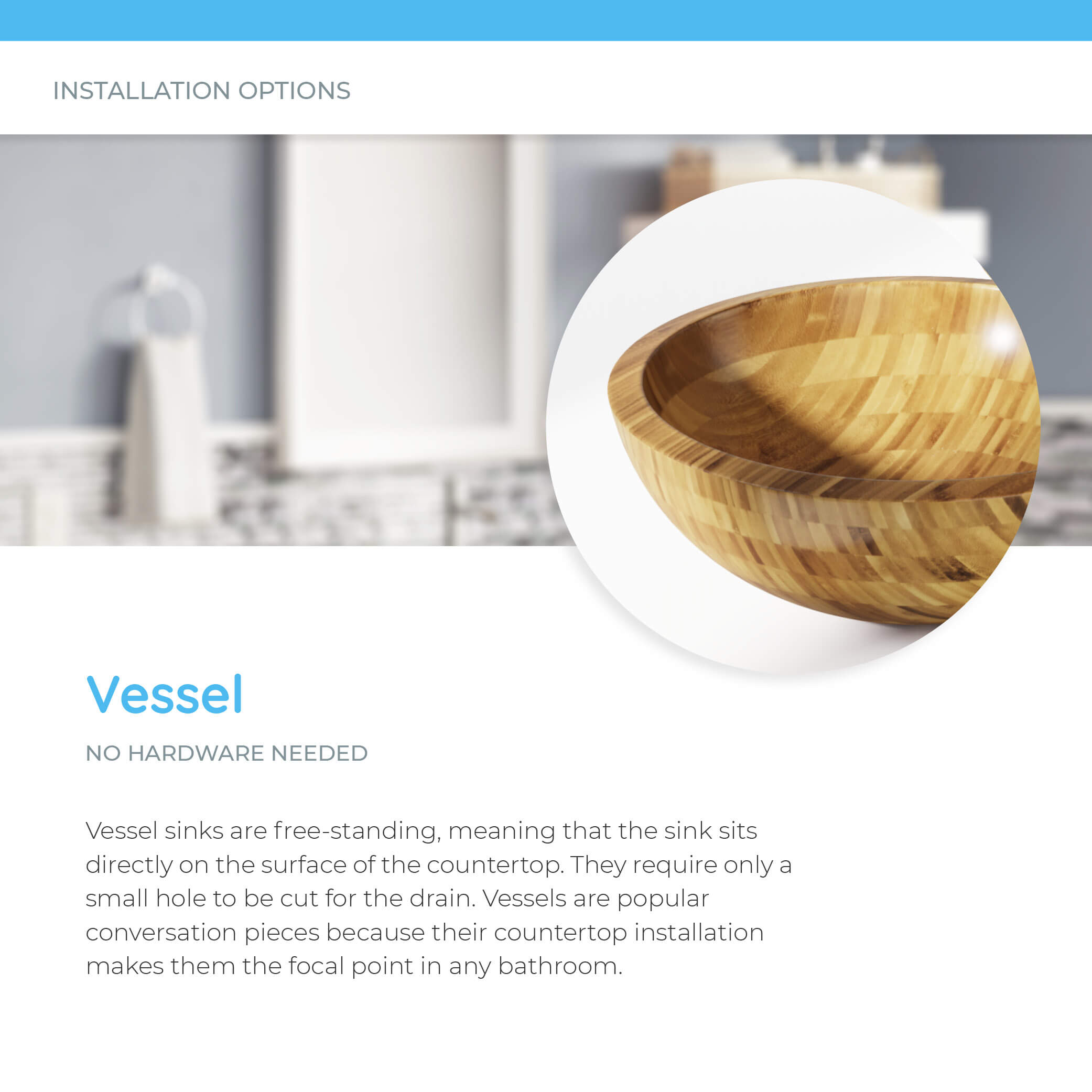 Bamboo vessel sink sitting on countertop