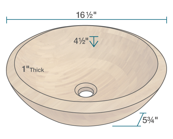 "The dimensions of 890 Bamboo Vessel Bathroom Sink is 16 1/2"" x 16 1/2"" x 5 3/4"". Its minimum cabinet size is 18""."