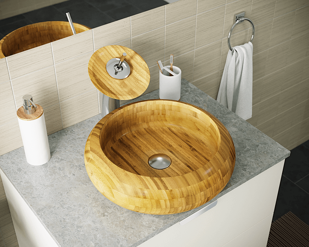 893 Lifestyle Image: 100% Renewable Bamboo One Bowl Round Vessel Bathroom Sink