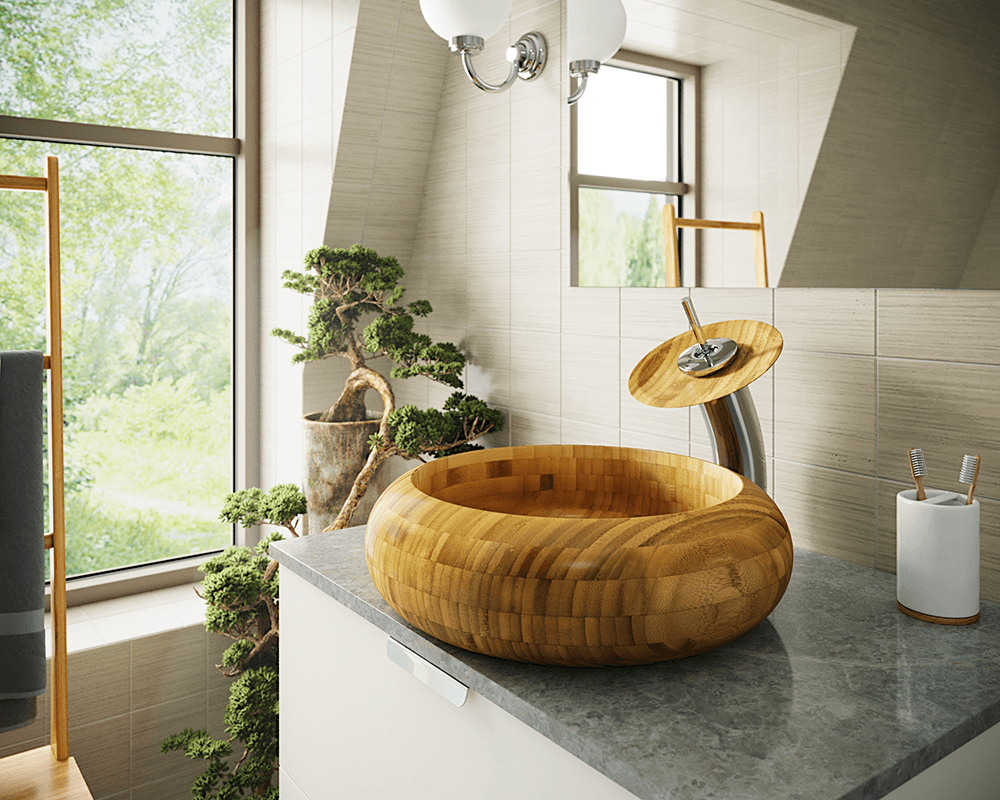 893 Lifestyle Image: 100% Renewable Bamboo Round Vessel One Bowl Bathroom Sink